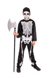 Boy in Halloween skeleton costume Stock Photography