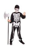 Boy in Halloween skeleton costume Royalty Free Stock Photos