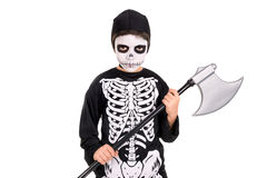 Boy in Halloween skeleton costume Stock Image