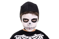Boy in Halloween skeleton costume Royalty Free Stock Photos