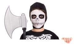 Boy in Halloween skeleton costume Stock Photography