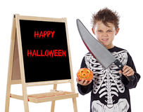 Boy in halloween whit slate Stock Photo