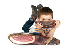 Boy with ham Royalty Free Stock Photo