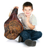 Boy with ham Stock Image