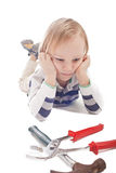 Boy with hammer and pliers Stock Images