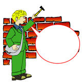 Boy with hammer and speech bubble Royalty Free Stock Photography