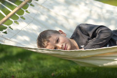 Boy in hammock Royalty Free Stock Photography