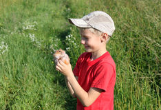 Boy with hamster Stock Images