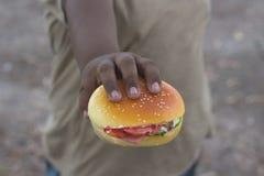 Boy hand hamburger stock image