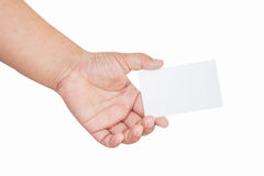 Boy hand holding blank card, isolated Stock Image