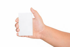 Boy hand holding blank card, isolated Stock Images
