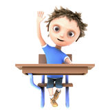 Boy with hand raised Stock Image