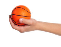 Boy hand with small ball Royalty Free Stock Images