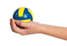 Boy hand with small ball Royalty Free Stock Photography
