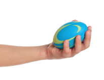 Boy hand with small ball Royalty Free Stock Photos