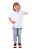 Boy with hand on something Royalty Free Stock Photography