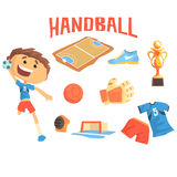 Boy Handball Player, Kids Future Dream Professional Sportive Career Illustration With Related To Profession Objects. Smiling Child Carton Character With Sports Royalty Free Stock Photo
