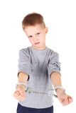 Boy with handcuffs royalty free stock image