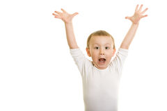 Boy hands in the air. Boy on a white background with  hands in the air Stock Photo