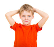 Boy hands behind head Royalty Free Stock Photo