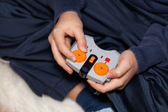 Boy Hands Holding Toy Remote Control Stock Images
