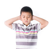 Boy hands off covering ears from loud noise, squeezing head with hands, having headache, Conflict resolution Stock Images