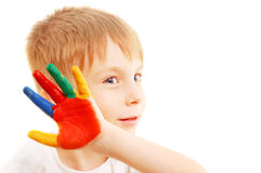 Boy with hands in paint Royalty Free Stock Photo