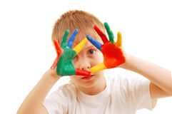 Boy with hands in paint Stock Image