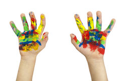 Boy hands painted with colorful paint Stock Photos