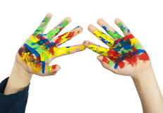 Boy hands painted with colorful paint Stock Images