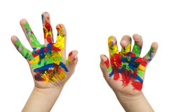 Boy hands painted with colorful paint Royalty Free Stock Images