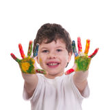 Boy with hands painted with colorful paint royalty free stock image