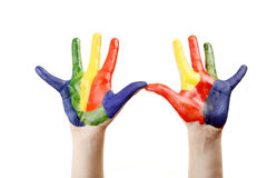 Boy hands painted Stock Photos