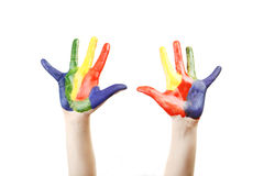 Boy hands painted royalty free stock image