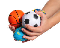 Boy hands with small balls Stock Images