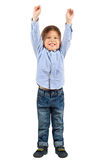 Boy with hands up. Full length portrait of cute little boy with hands up isolated on white background Royalty Free Stock Images