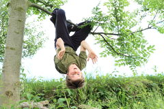 Boy hanging on the tree Royalty Free Stock Images