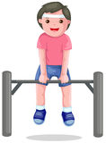 Boy hangs on a horizontal bar Royalty Free Stock Photo