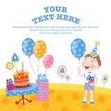 Boy happy birthday gifts. Little boy enjoys the gifts on your birthday stock illustration