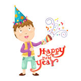 Boy and happy new year Stock Photography