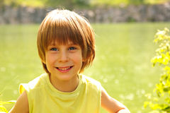 Boy happy summer outdoor Royalty Free Stock Photo