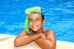 Boy happy teenager vacation relaxed on pool Royalty Free Stock Photo