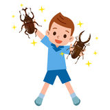 Boy happy to capture the beetles and stag beetles Royalty Free Stock Images