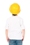 Boy in hard hat Stock Image