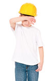 Boy in hard hat Stock Images
