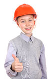 Boy in Hard Hat Stock Photography