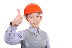 Boy in Hard Hat Royalty Free Stock Photography