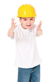 Boy in hard hat Royalty Free Stock Photo