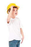 Boy in hard hat Stock Photo