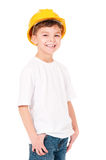 Boy in hard hat Royalty Free Stock Images